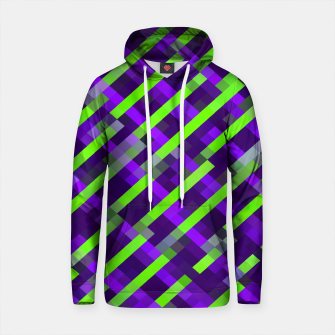 Thumbnail image of geometric pixel square pattern abstract background in purple green Cotton hoodie, Live Heroes