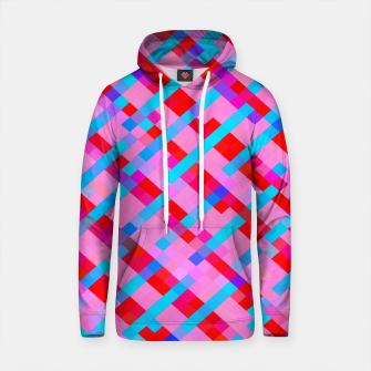 Thumbnail image of geometric pixel square pattern abstract background in pink blue red Cotton hoodie, Live Heroes