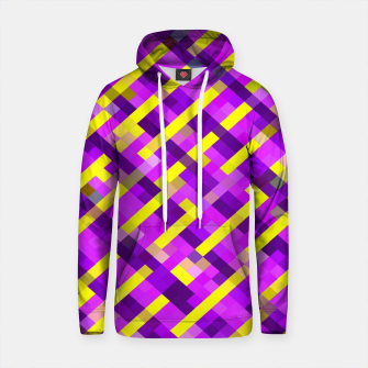 Thumbnail image of geometric pixel square pattern abstract background in pink purple yellow Cotton hoodie, Live Heroes
