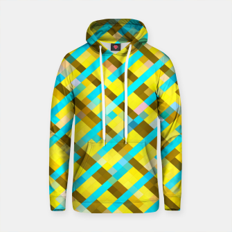 Thumbnail image of geometric pixel square pattern abstract background in yellow blue brown Cotton hoodie, Live Heroes