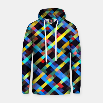 Thumbnail image of geometric pixel square pattern abstract background in blue yellow red orange Cotton hoodie, Live Heroes