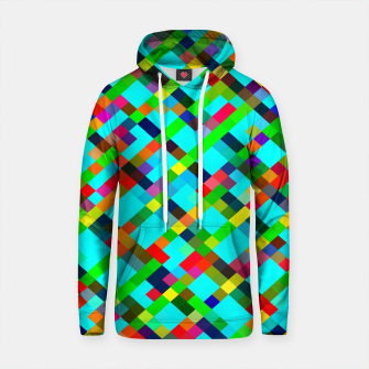 Thumbnail image of geometric pixel square pattern abstract background in green yellow blue orange Cotton hoodie, Live Heroes