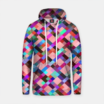 Thumbnail image of geometric pixel square pattern abstract background in pink purple blue yellow green Cotton hoodie, Live Heroes
