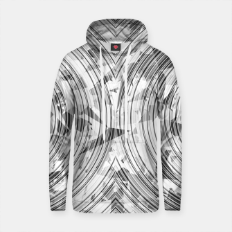 Thumbnail image of psychedelic geometric circle pattern abstract background in black and white Cotton hoodie, Live Heroes