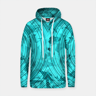 Thumbnail image of psychedelic geometric circle pattern abstract background in blue and green Cotton hoodie, Live Heroes