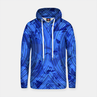 Thumbnail image of psychedelic geometric circle pattern abstract background in blue Cotton hoodie, Live Heroes