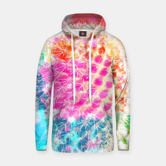 Thumbnail image of closeup cactus with colorful painting abstract in pink orange blue Cotton hoodie, Live Heroes