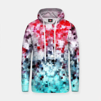 Thumbnail image of geometric square pattern heart shape abstract background in red pink blue Cotton hoodie, Live Heroes