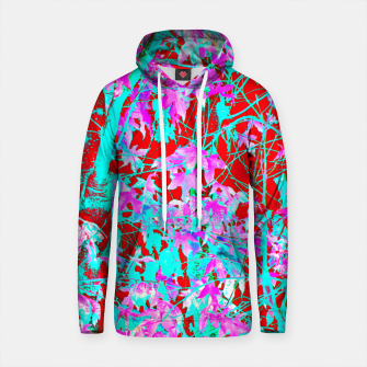 Thumbnail image of pink maple tree leaf with blue and red abstract background Cotton hoodie, Live Heroes
