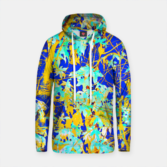 Thumbnail image of green maple tree leaf with blue and yellow abstract background Cotton hoodie, Live Heroes