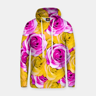 Thumbnail image of pink rose and yellow rose pattern abstract background Cotton hoodie, Live Heroes