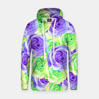 Thumbnail image of purple rose and green rose pattern abstract background Cotton hoodie, Live Heroes