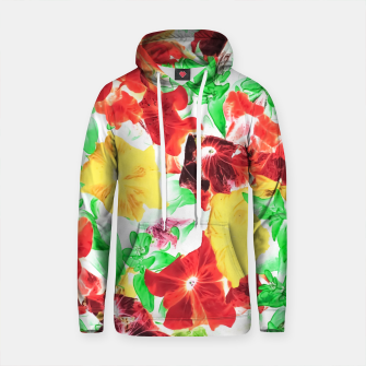 Thumbnail image of red flower and yellow flower with green leaf abstract background Cotton hoodie, Live Heroes