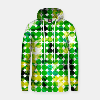 Thumbnail image of circle pattern abstract background with splash painting abstract in green and yellow Cotton hoodie, Live Heroes