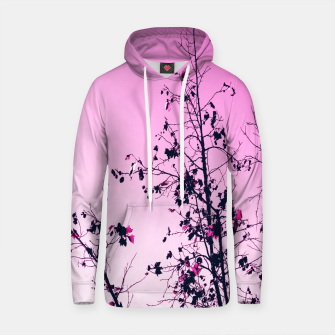 Thumbnail image of isolate tree branch abstract with leaf and pink background Cotton hoodie, Live Heroes