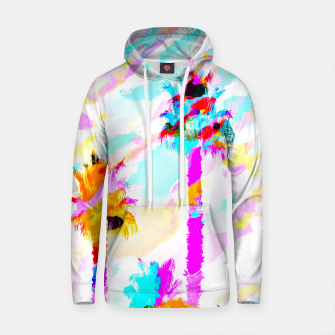 Thumbnail image of palm tree with colorful painting texture abstract background in pink blue yellow red Cotton hoodie, Live Heroes