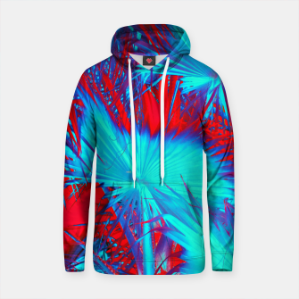 Thumbnail image of closeup palm leaf texture abstract background in blue and red Cotton hoodie, Live Heroes