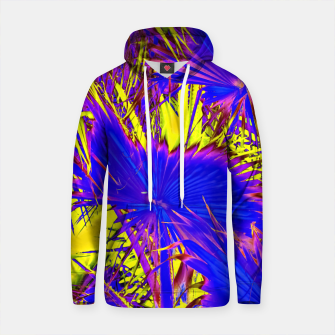 Thumbnail image of closeup palm leaf texture abstract background in blue pink and yellow Cotton hoodie, Live Heroes
