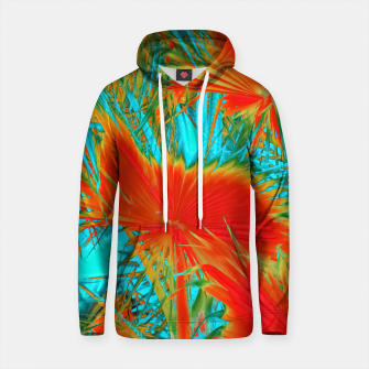 Thumbnail image of closeup palm leaf texture abstract background in orange blue green Cotton hoodie, Live Heroes