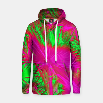 Thumbnail image of closeup palm leaf texture abstract background in pink and green Cotton hoodie, Live Heroes