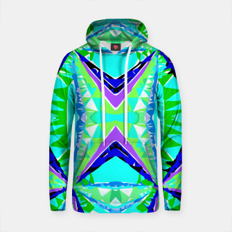 Thumbnail image of psychedelic geometric abstract pattern background in green purple blue Cotton hoodie, Live Heroes
