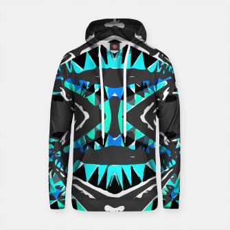 Thumbnail image of psychedelic geometric abstract pattern background in blue green black Cotton hoodie, Live Heroes
