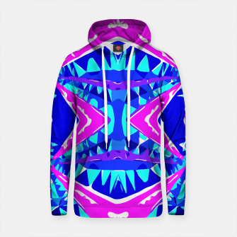 Thumbnail image of psychedelic geometric abstract pattern background in blue pink purple Cotton hoodie, Live Heroes
