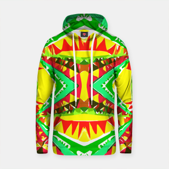 Thumbnail image of psychedelic geometric abstract pattern background in yellow red green Cotton hoodie, Live Heroes