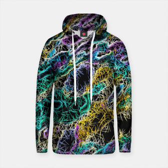 Thumbnail image of psychedelic rotten sketching texture abstract background in green purple yellow Cotton hoodie, Live Heroes