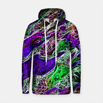 Thumbnail image of psychedelic rotten sketching texture abstract background in purple blue green Cotton hoodie, Live Heroes