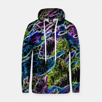 Thumbnail image of psychedelic rotten sketching texture abstract background in blue yellow pink Cotton hoodie, Live Heroes