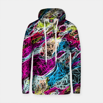 Thumbnail image of psychedelic rotten sketching texture abstract background in pink blue yellow Cotton hoodie, Live Heroes
