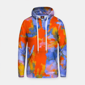 Thumbnail image of splash painting texture abstract background in red blue orange Cotton hoodie, Live Heroes