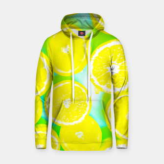 Thumbnail image of juicy yellow lemon pattern abstract with green background Cotton hoodie, Live Heroes