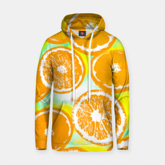 Thumbnail image of juicy orange pattern abstract with yellow and green background Cotton hoodie, Live Heroes