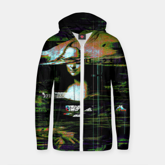 Thumbnail image of Mona Lisa Glitch Cotton zip up hoodie, Live Heroes