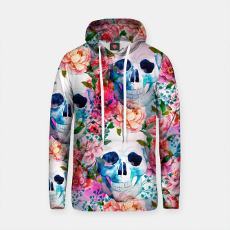 Thumbnail image of Watercolor skull and flowers patterns Sudadera con capucha de algodón, Live Heroes