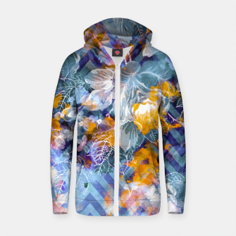 Thumbnail image of Abstract flowers and plants with geometric Sudadera con capucha y cremallera de algodón , Live Heroes