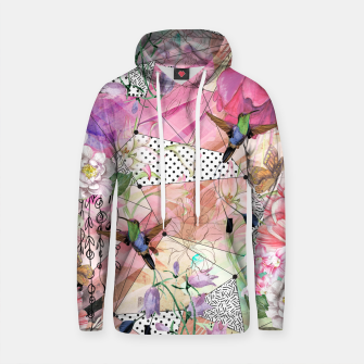 Thumbnail image of Nature flowery geometric with birds Sudadera con capucha de algodón, Live Heroes