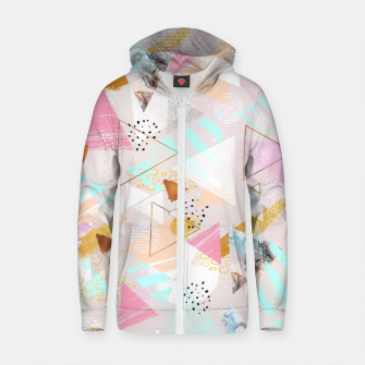 Thumbnail image of Abstract geometric textures and marble Sudadera con capucha y cremallera de algodón , Live Heroes