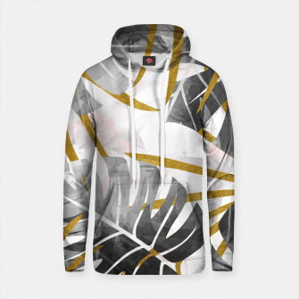 Thumbnail image of Monstera black and white with golden leaves Sudadera con capucha de algodón, Live Heroes