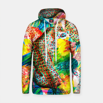 Thumbnail image of Anaglyph tropical leopard and birds Sudadera con capucha de algodón, Live Heroes
