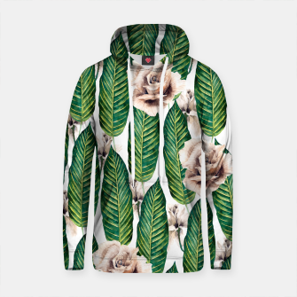 Thumbnail image of Tropical leaves and white roses Sudadera con capucha de algodón, Live Heroes