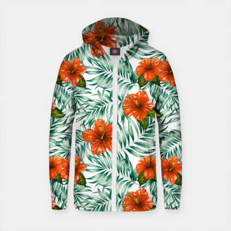 Thumbnail image of Botanical pattern with tropical flowers Sudadera con capucha y cremallera de algodón , Live Heroes