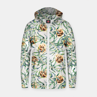 Thumbnail image of Pattern of leaf branches and ocher roses Sudadera con capucha y cremallera de algodón , Live Heroes