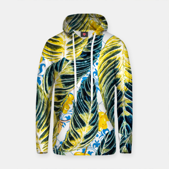 Thumbnail image of Tropical leaf on ornamental pattern Sudadera con capucha de algodón, Live Heroes