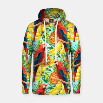 Thumbnail image of Pattern of birds and tropical fruit Sudadera con capucha de algodón, Live Heroes