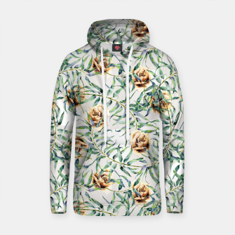 Thumbnail image of Pattern of leaf branches and ocher roses Sudadera con capucha de algodón, Live Heroes