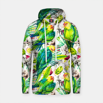 Thumbnail image of Flowery jungle of birds and fruit pattern Sudadera con capucha de algodón, Live Heroes