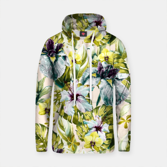 Thumbnail image of Flowering tropical jungle pattern Sudadera con capucha de algodón, Live Heroes